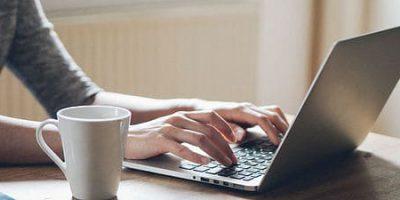 Typing on a laptop keyboard